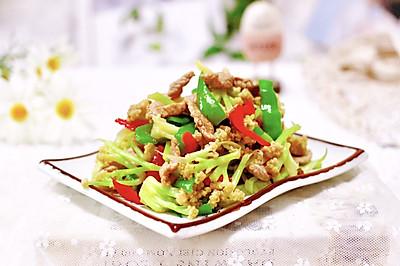 双椒肉片炒花菜