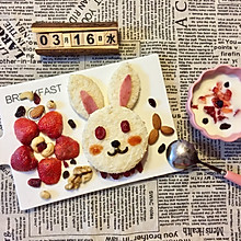 儿童早餐—兔子玉米火腿三明治
