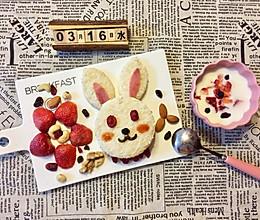 儿童早餐—兔子玉米火腿三明治的做法