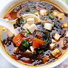 #换着花样吃早餐#紫菜番茄豆腐汤