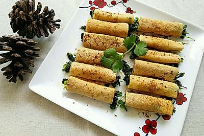 豆皮香菜卷