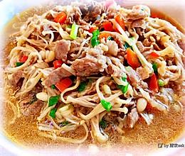 吃一口鲜掉眉毛,暖心又暖胃的-金针菇烧肥牛的做法