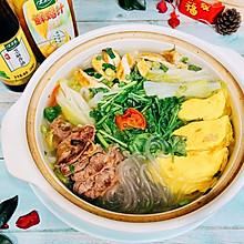 #太太乐鲜鸡汁芝麻香油#砂锅鲜鸡汁蛋饺粉丝汤