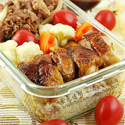 煎鸡and肥牛双拼饭