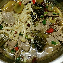 金针菇酸菜牛肉汤