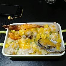 芝士焗海鲜饭