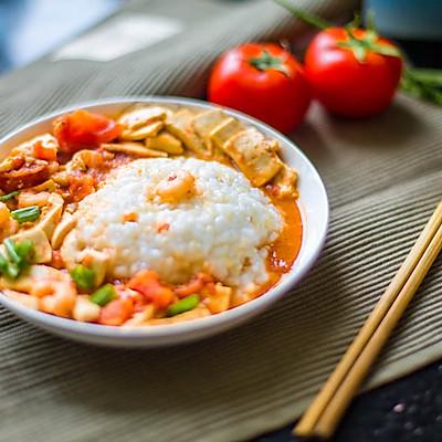 茄汁虾仁豆腐盖浇饭