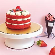 红丝绒草莓裸蛋糕#憋在家里吃什么#