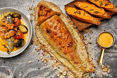 大西洋海鲈鱼-海盐香草面包皮烤全鱼