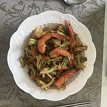 菜花炒大虾
