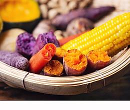 #入秋滋补正当时#「大丰收」烤红薯紫薯玉米花生南瓜土豆的做法