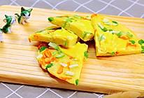 蔬菜奶酪米饭煎饼 宝宝辅食,鸡蛋+毛豆+西葫芦+胡萝卜的做法