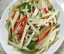 青椒肉丝豆干炒茭白。的做法