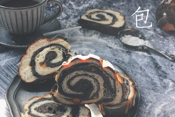 黑白双煞双色哈斯面包(糖渍橙皮,巧克力,奶油)的做法