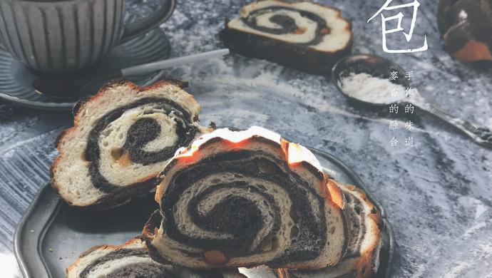 黑白双煞双色哈斯面包(糖渍橙皮,巧克力,奶油)