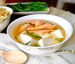 味增三文鱼排豆腐汤的做法