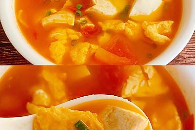 低脂低卡的番茄鸡蛋豆腐汤~减脂首选营养汤