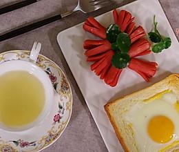 孕妇瘦身美食——爆浆鸡蛋吐司配章鱼香肠的做法