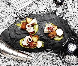 【鹦鹉厨房】蛋黄蒜酱 章鱼 猪筋肉排配茄子马苏里拉奶酪的做法