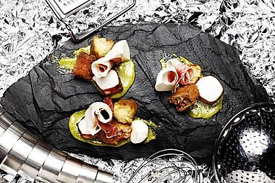 【鹦鹉厨房】蛋黄蒜酱 章鱼 猪筋肉排配茄子马苏里拉奶酪