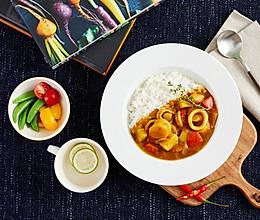 扇贝柱墨鱼咖喱饭的做法