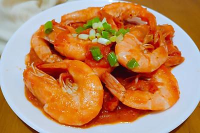 年夜饭~番茄油爆虾
