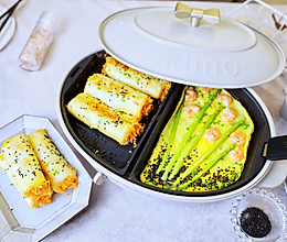 好吃到爆!流心咸蛋黄肉松芝士卷+创意芦笋鲜虾鸡蛋饼!的做法