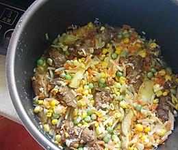 排骨玉米粒胡萝卜土豆豌豆闷饭的做法