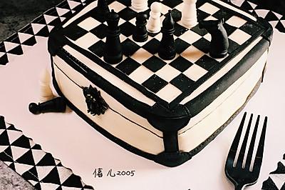 翻糖一一国际象棋棋格蛋糕