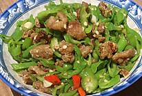 米饭好伴侣青辣椒炒猪油渣的做法