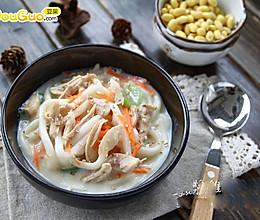 鲜美健康:豆浆鸡丝乌冬面的做法