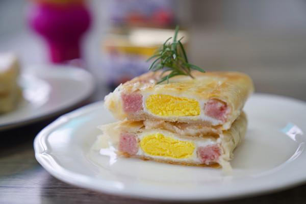 手抓饼午餐肉酿蛋的做法