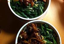 蒜蓉菜心+糖醋排骨的做法
