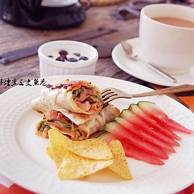 北极虾烟熏三文鱼卷