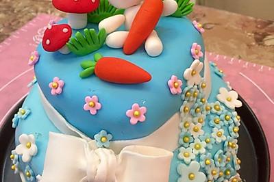 翻糖双层生日蛋糕