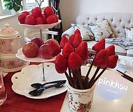 梦幻草莓冰糖葫芦的做法