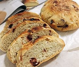 天然酵母蔓越莓免揉面包的做法