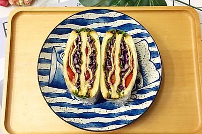 #精品菜谱挑战赛#培根芝士蔬菜三明治-我的健康低脂早餐