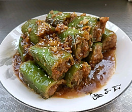 青椒酿肉沫的做法