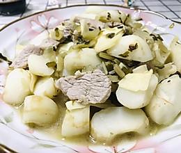 #牛气冲天#荸荠冬笋咸菜炒肉片的做法
