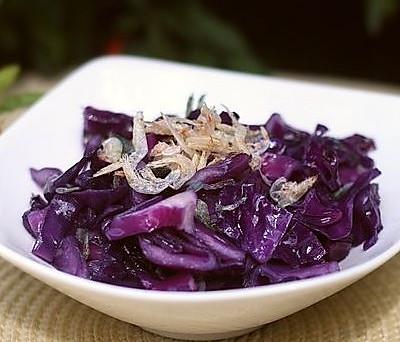 虾皮炒紫甘蓝