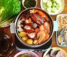 豪华鸡汤海鲜火锅#秋天怎么吃#的做法