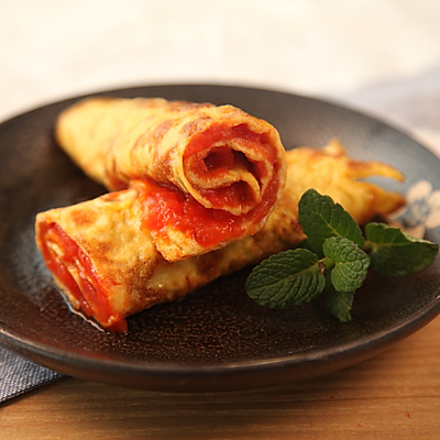 有家鲜厨房:清明养生菜-蛋卷番茄