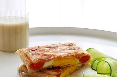 家安乐享早餐:香肠鸡蛋手抓饼+鹰嘴豆浆