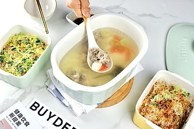 山药排骨汤+香辣粉丝金针菇+菠菜蒸粉丝