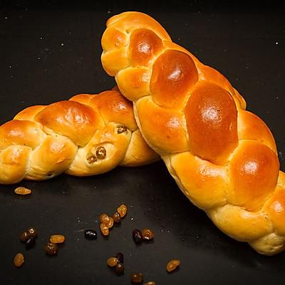 辫子蜜豆面包(1次发酵法)