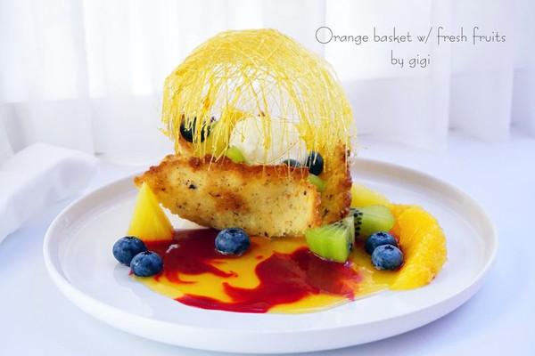 香橙焦糖水果脆蓝的做法
