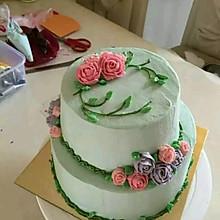 奶油霜韩式裱花蛋糕