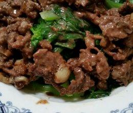 沙茶牛肉炒芥蓝的做法