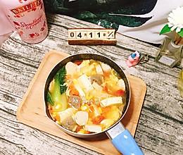 #换着花样吃早餐#番茄豆腐丸子汤的做法